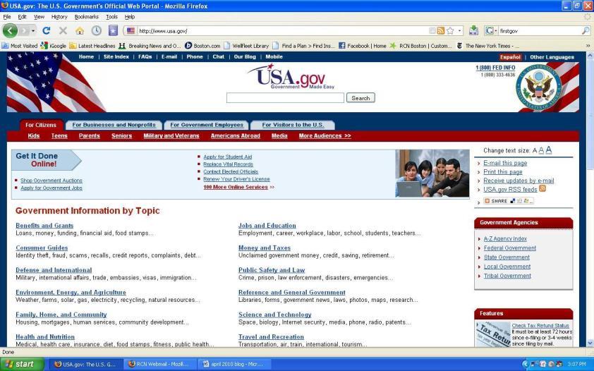 USA.gov on April 16, 2010